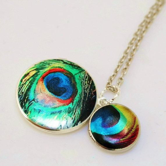 Silver Locket,Locket,Peacock Locket,Photo Locket,Peacock Feather,Silver Chain,Locket Necklace,Wedding Necklace,Mother and child