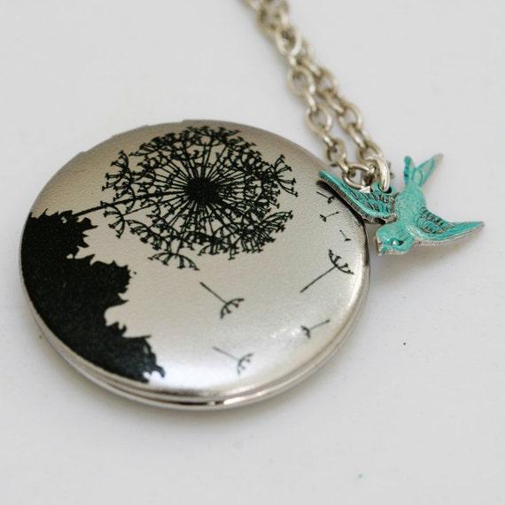 Personalized Locket Necklace,Locket,Silver Locket,Jewelry,Pendant,Dandelions Locket,Bird,Image locket,picture locket,Wedding Necklace