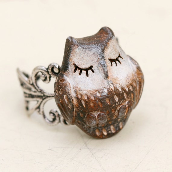 Wooden Owl Ring carved redwood owl head unisex ring, steampunk wooden wise owl ring,Antique Ring,Silver Ring
