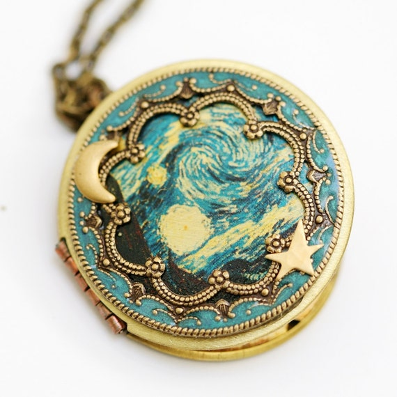 Locket, Necklace, jewelry gift,Pendant,Moon and Star Locket, Wedding,The Starry Night bridesmaid gift locket necklace,vincent van gogh