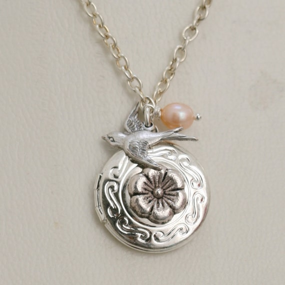 Petite Fleur,Locket,Silver Locket,Antique Locket,Girl,Child,Baby,Girl Locket,Pink. wedding necklace,flower girl locket necklace