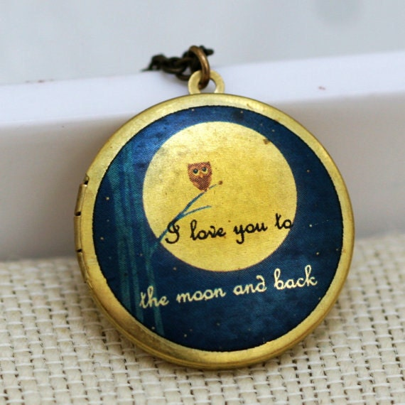 Personalization Locket Necklace, jewelry,Necklace,Owl Locket,Pendant,Moonlight Owl,Brass locket-I love you to the moon and back ,Bridesmaid