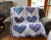 Handmade Crochet Granny Square Patchwork Hearts Quilt Afghan Blanket Bedspread
