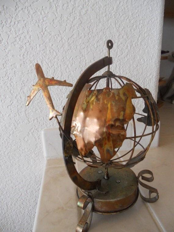 Vintage Copper Music Box Earth Globe And Airplane By