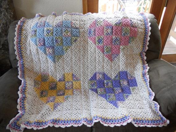 Handmade Crochet Granny Square Patchwork Hearts Quilt Baby Afghan Blanket Lap Blanket Lapghan