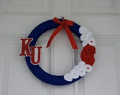 Kansas Jayhawks handmade wreath 14 inches