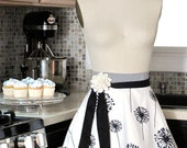 Kitchen Apron- PLUS SIZE Half Apron with Double Skirt - Black and White - Fully LINED Apron- Dandelion Apron Skirt