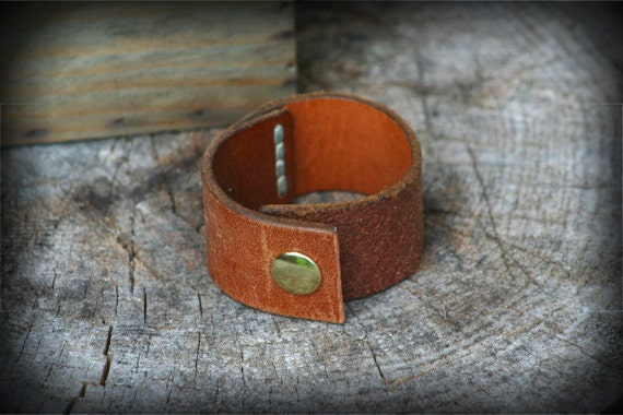 Classy and Casual Revived Brown Leather Cuff Bracelet Rustic and Casual