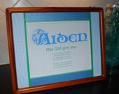 """Aiden - Boy's Personalized Framed Irish Blessing 11"""" x 14"""""""