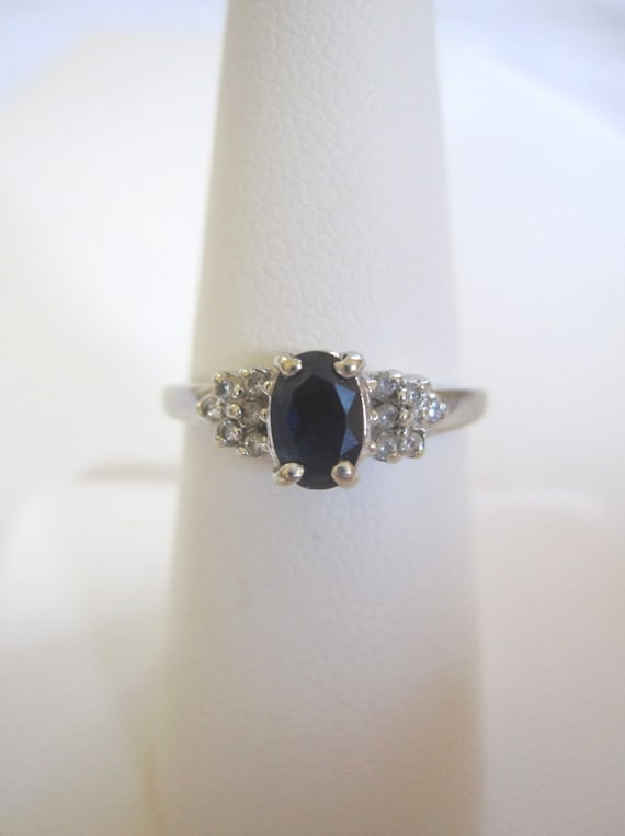 Estate Dainty Petite Sapphire & 10k White Gold Ring