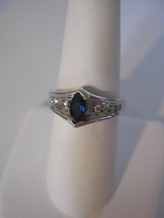 Estate Petite Art Deco Style Marquise Sapphire & Diamonds 14k White Gold Ring