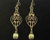 Beaded Dangling Earrings Jade & Antique Brass