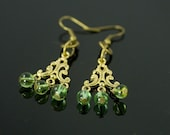 Antique Gold & Green Glass Beaded Chandelier Earrings