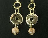Golden Coral Bead Dangling Earrings