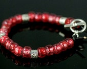 Leather Bracelet Beaded, Pewter & Red Glass