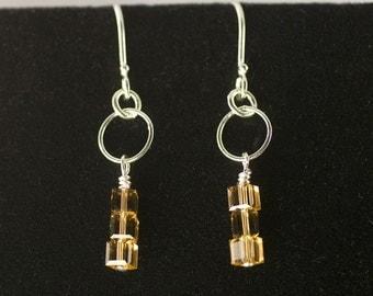 Cube bead earrings, sterling silver