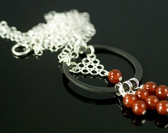 Carnelian bead necklace, hardware jewelry