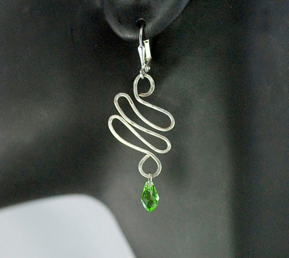 Wire Earrings with Green Crystal Bead