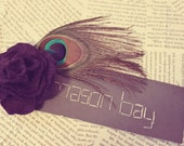 Purple Rose with Peacock Feather Hair Clip