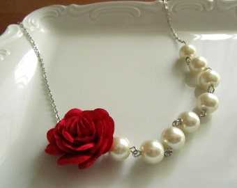 Pearl necklace with red fabric rose, ivory pearl necklace, ivory and red bridal, red rose necklace,  red bridal necklace, red jewelry