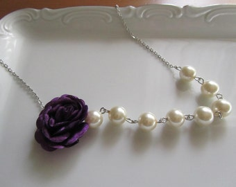 Pearl necklace with purple fabric rose, ivory pearl necklace, ivory and purple bridal, purple rose necklace, purple bridal