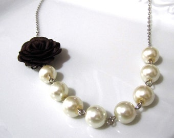 Dark brown flower necklace with pearls - Pearl necklace - Bridal necklace - Bridesmaid necklace
