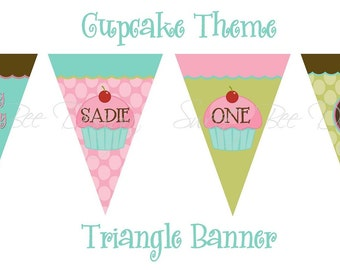 Printable DIY Cupcake Theme Triangle Banner