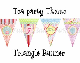 Printable DIY Tea Party Theme Triangle Banner