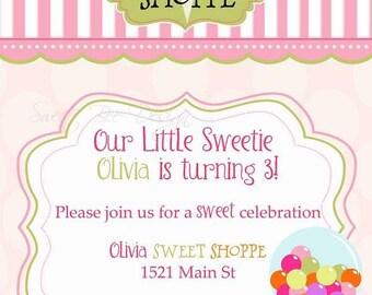Sweet Shoppe Invitation , Sweet Shoppe Birthday Invitation , Sweet Shoppe Party - Printable