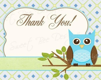 Owl Thank you Note -  Baby Boy - Custom Printable DIY
