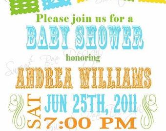 Fiesta Birthday Invitation, Fiesta Baby Shower Invitation, Fiesta Bridal Shower Invitation, Fiesta Shower Invitation - Custom Printable