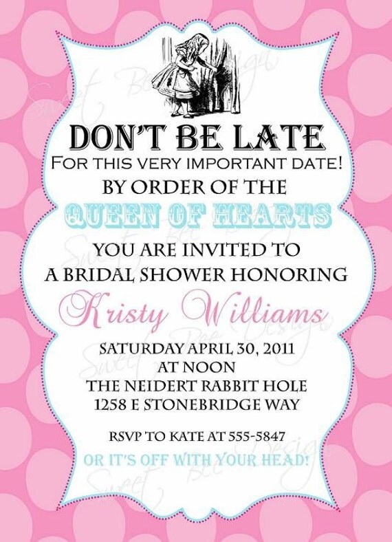 alice in wonderland bridal invitation, alice in wonderland baby, Baby shower