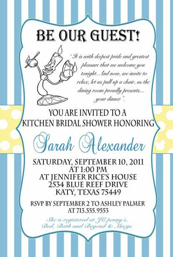 Beauty And The Beast Bridal Baby Or Birthday Invitation