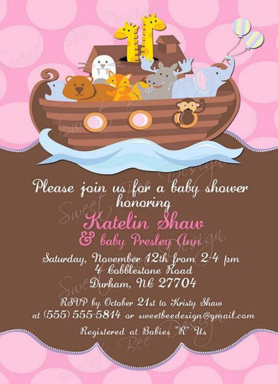 Noah39;s Ark Invitation , Twin Baby Shower Invitation, Noah39;s Ark Baby
