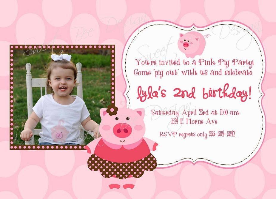 Pig Birthday Invitation Pig Birthday Photo Invitation Pig – Pig Birthday Party Invitations