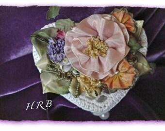 CROCHETED BOUDOIR BOX 1920's Art Deco Ribbonwork Vintage French and Metlic Ribbon Heartshaped Cocheted Box White