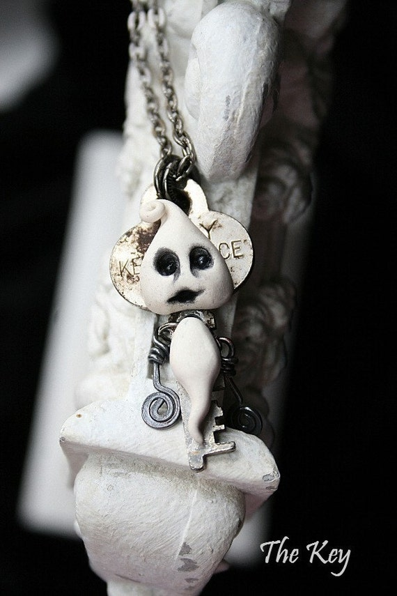 Ghost Necklace - Key Necklace - Gothic Necklace - Walter