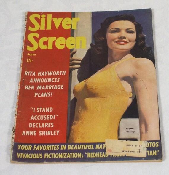 Vintage 1943 Silver Screen Magazine Gene Tierney Cover
