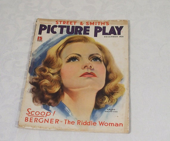Vintage 1935 Picture Play Magazine Marland Stone Garbo Cover