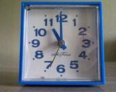 1970s Electric Blue Cube clock