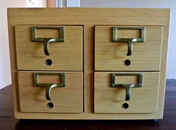Vintage four drawer card catalogue with brass pulls