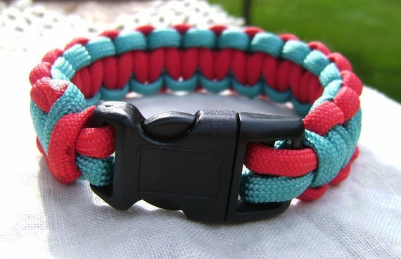 Teal/Red 550 Paracord Bracelet (Size 7)
