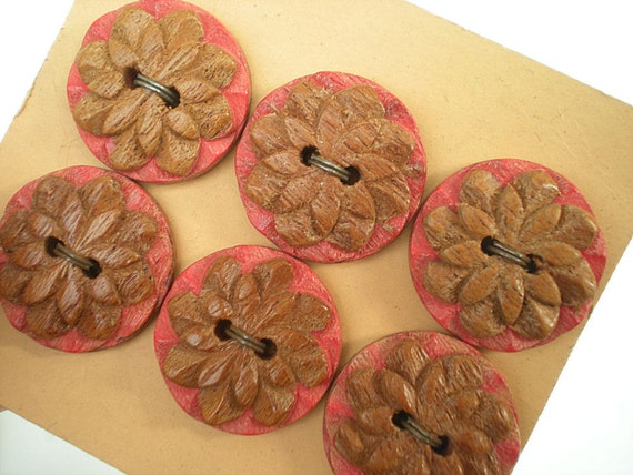Vintage Wooden Buttons, Pink, Wood Carved, 6 Two Hole Buttons, Vintage Sewing Notion, Unused,Unique, Original Card