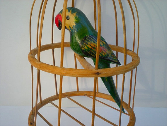 Parrot in Cage, Wooden Parrot, Bamboo Cage, Pirate, Parrot Head, Tropical Home Decor, Bar, Patio Decor, Beach Party Decor, Red Green Yellow