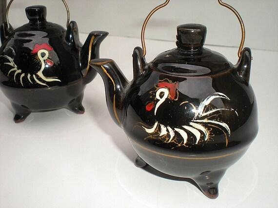 Rooster Kitchen Decor, Salt Shakers, Teapots, Salt Pepper Shakers, Black, Vintage Shakers, Hand Painted, 1950s, Black Teapots, Shabby Chic