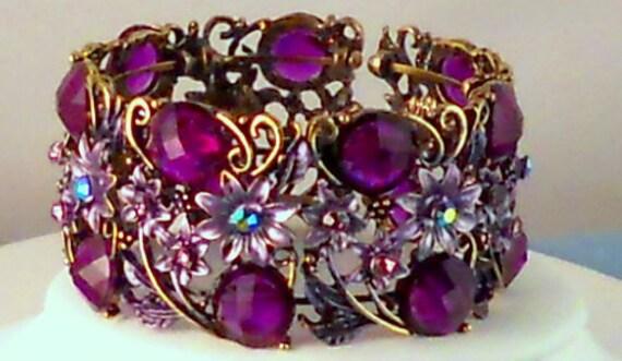 Purple Glass Enameled Beaded Cuff Bracelet Mother's Day
