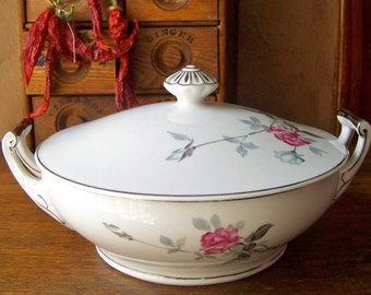 Vintage Serving Tureen Pink Rose Silver Plate Handles Vegetable Tureen Casserole China Soup Tureen Serving Dish Mid Century 1950s