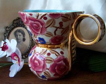 Vintage Vase Belgium 1940s Floral Gold Trim Maroon Camellias Robin Egg Blue Vase