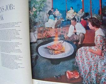 Vintage Picture Cook Book Life Cookbook Big Orange Cookbook 1959 Coffee Table Cookbook Retro Cookbook Entertaining 1950s Photos