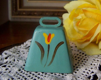 Vintage Miniature Bell Hand Painted Turquoise Yellow Flower Dainty Ring Tone 1970s